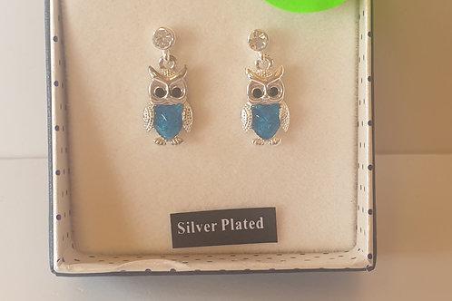 """""""Sea Breeze"""" Silver Plated Owl Earrings"""