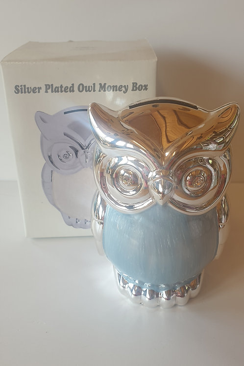 Silver Plated Owl Money Box (Blue)