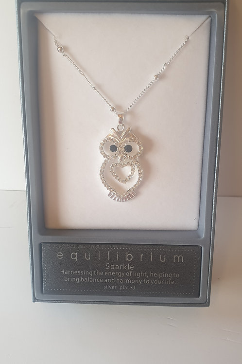 Boxed Silver Plated Sparkle Owl Necklace