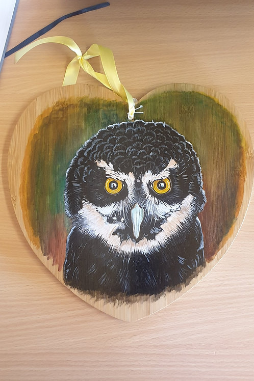 """""""Boo"""" Hand Painted Spectacled Owl"""