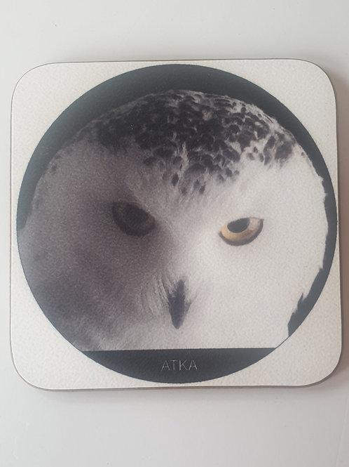 """""""Atka"""" Snowy Owl Coaster"""