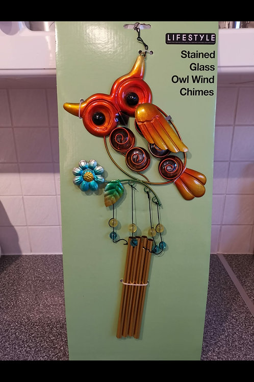 Stained Glass Owl Windchime