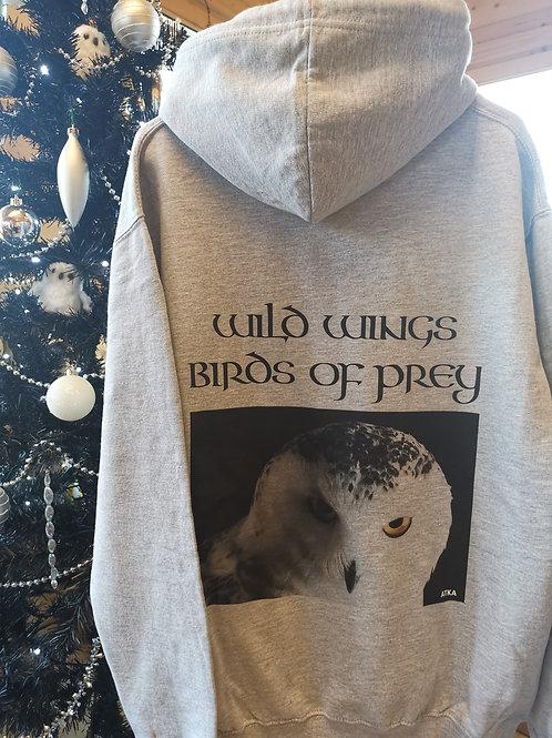 Atka Snowy Owl Grey Hoodie Size M