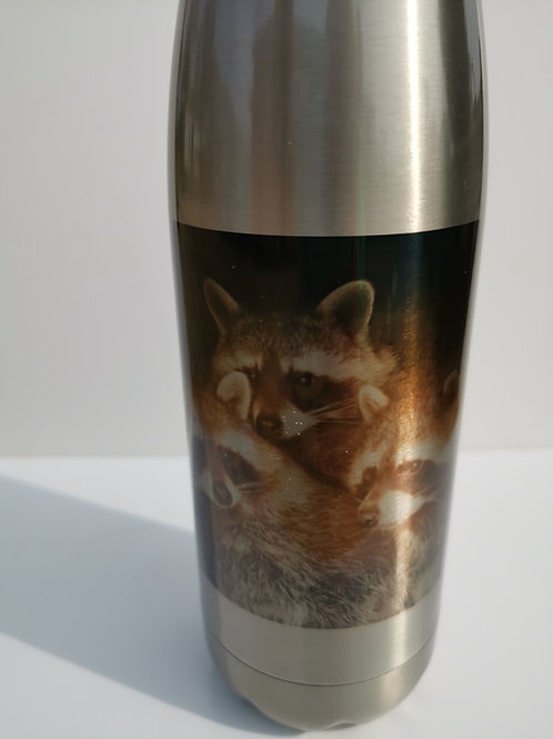 Raccoons Silver Thermal Bottle