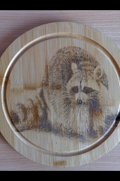 Raccoon Hand made decorative chopping board round