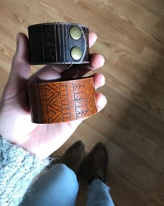 """TRIBAL"" Leather Cuff"