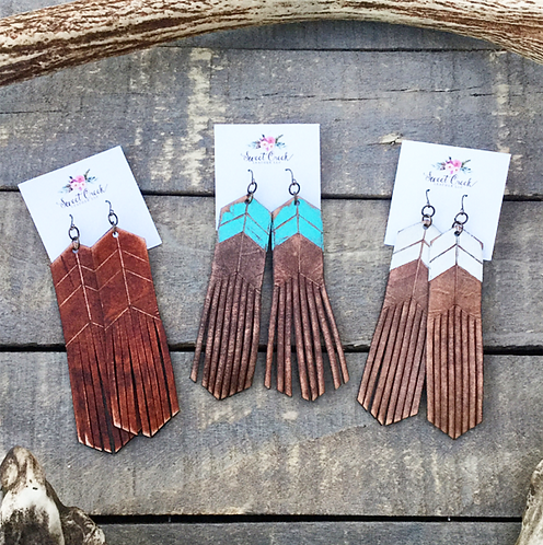 """CHEVRON"" Leather Fringe Earrings"