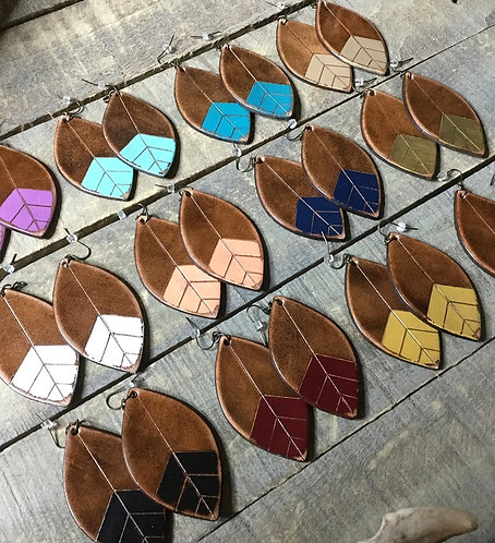 """CHEVRON PETAL"" Leather Earrings"