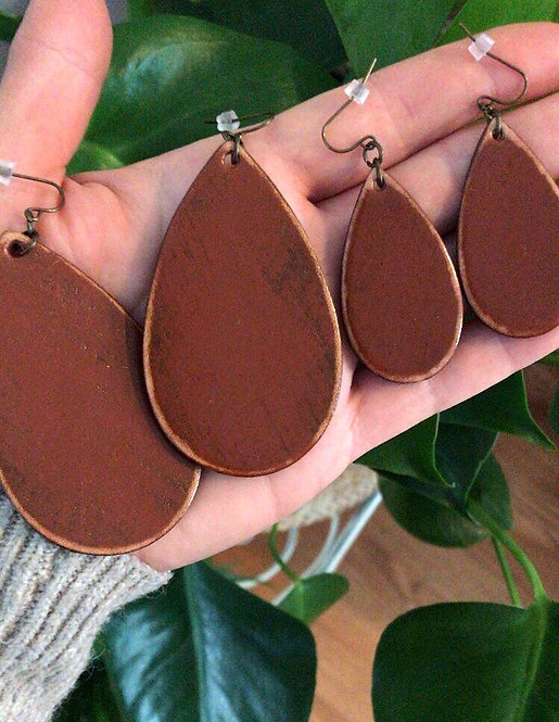 """ITEM of the MONTH """"CLASSIC"""" LEATHER TEARDROP EARRINGS in BURNT SIENNA"""