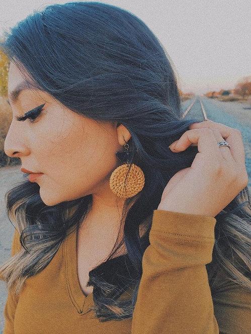 LEATHER + RATTAN Earrings