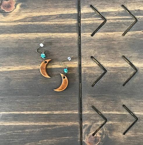 """MINI TURQUOISE MOON"" Leather Earrings"
