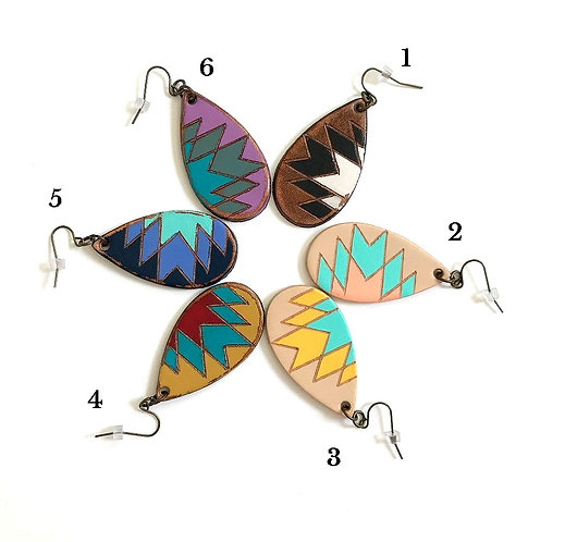 "SKU# MCT1 ""MINI CANYON"" Leather Teardrop Earrings"