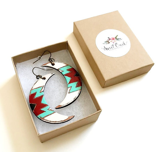 "SKU# SME2 ""SAGUARO MOON"" Leather Earrings"