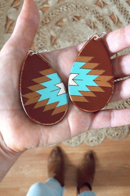 """""""CANYON ARROW"""" Leather Teardrop Earrings"""