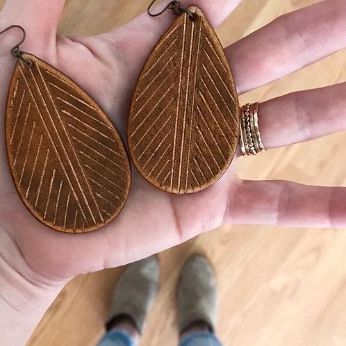 """""""LEAF FOSSIL"""" Leather Teardrop Earrings"""