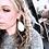 Model wearing Sweet Creek Leather Teardrop Earrings