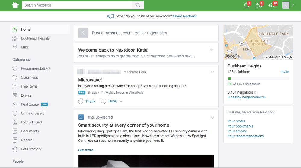 """Nextdoor is a social media platform intended to connect users (i.e. neighbors) in a """"hyperlocal"""" area [8]. When users join the platform, they enter their name and street address which allows them to join their specific neighborhood. Within the platform, users can make posts under a host of different categories, including Recommendations, Classifieds, Free Items, Events, Crime & Safety, Lost & Found, Real Estate, Documents, General, and Pets. Nextdoor is another great platform for facilitating second-hand buying and selling through the Classifieds category, but again was not specifically built for borrowing and lending. Like any other social media platform, users would likely just make a post in the General category about wanting to borrow an item and hope that users would respond."""