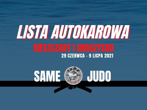 Obóz Bieszczady - Listy Autokarowe