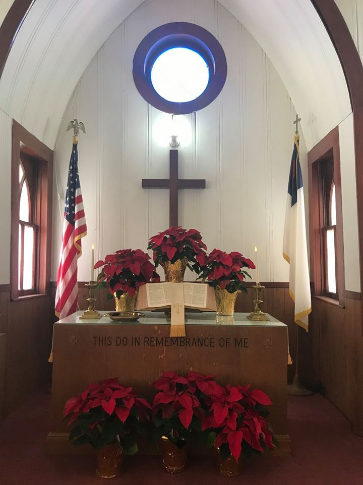 poinsettias in the church