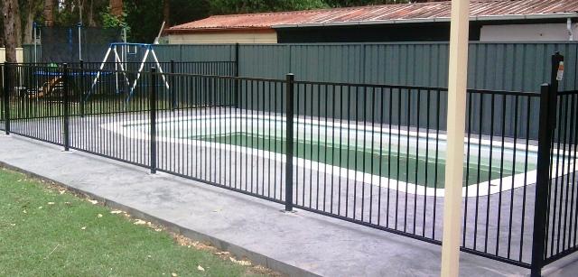 standard flat top pool fencing