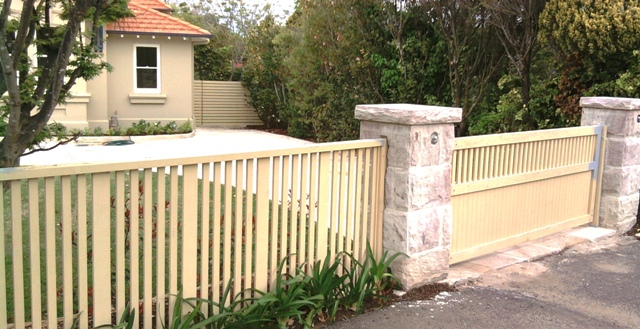Decorative front fence with custom swing gate