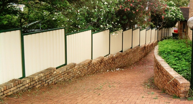 stepped colorbond fence