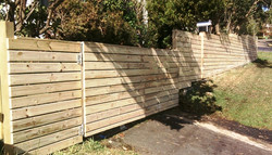 Slatted fence with gate