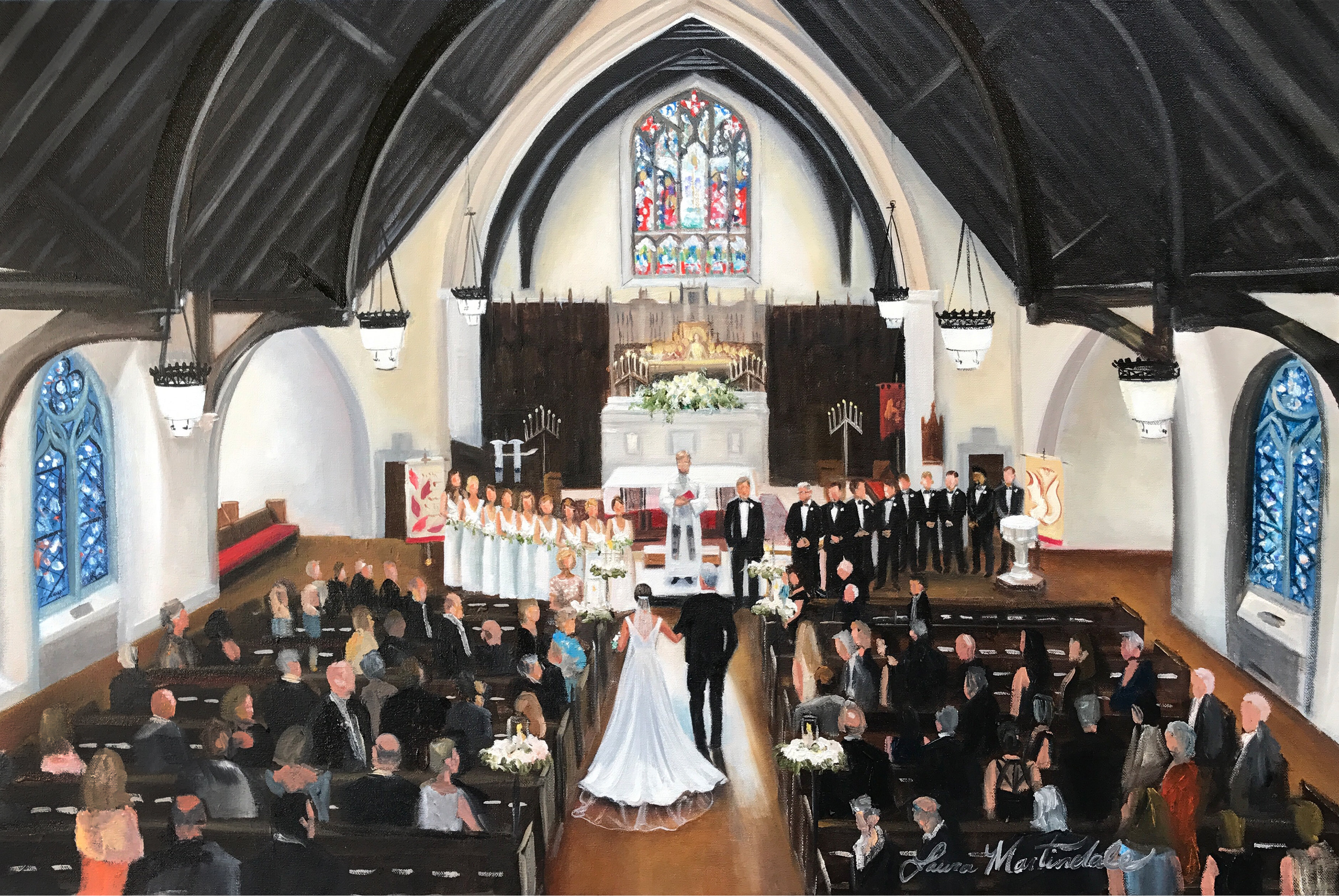 Church wedding painting