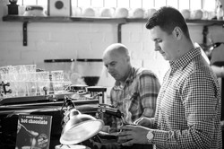 Roger and Radu Making Coffee