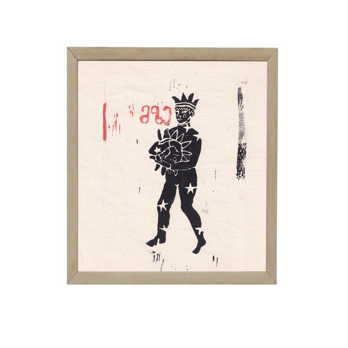 ink, linocut print, 15x17cm