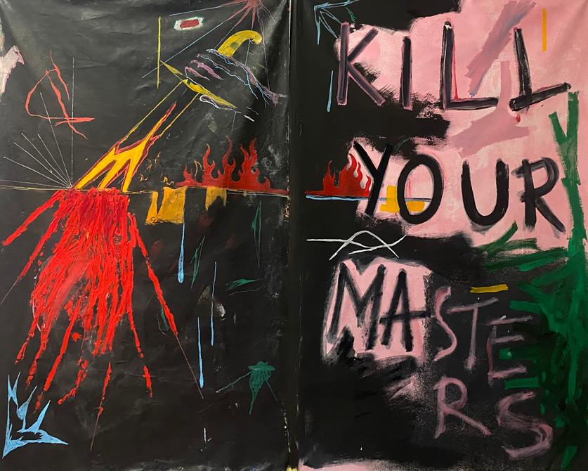 Diptych. - Mixed Media on Canvas(Oil, Oil Sticks, Acrylics, Acrylic Markers.)-180x130 cm
