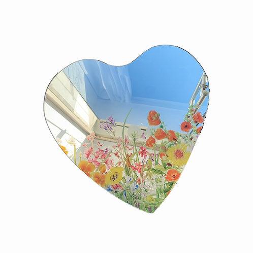 Field of Flowers Heart Mirror
