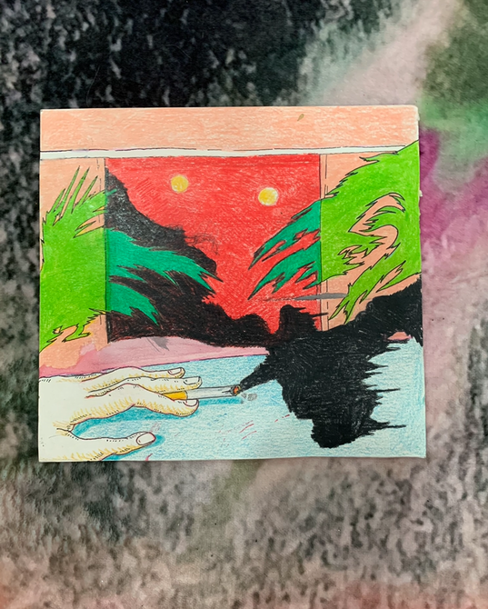 Mixed media on paper, 17x18cm