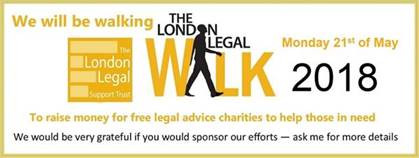 Legal Walk  21 of May 2018 Just a few days  to go !!!