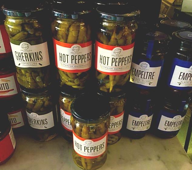 Gherkins, Hot Peppers and Black Olives.