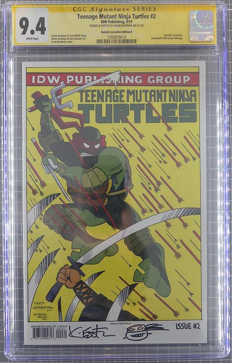 Teenage Mutant Ninja Turtles #2 CGC 9.4 - Signed & Sketch by Kevin Eastman!