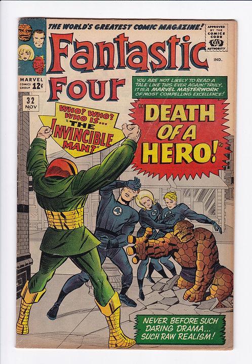 """Fantastic Four #32 - """"Death"""" of Doctor Franklin Storm (1964)"""