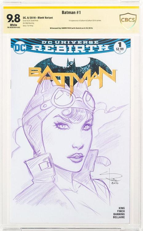 Batman #1 CBCS 9.8 - Witnessed Signature: Saibine Rich with Sketch