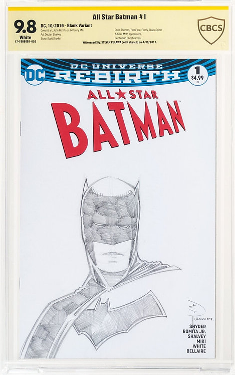 All Star Batman #1 CBCS 9.8 - Witnessed Signature: Steven Pulawa with Sketch