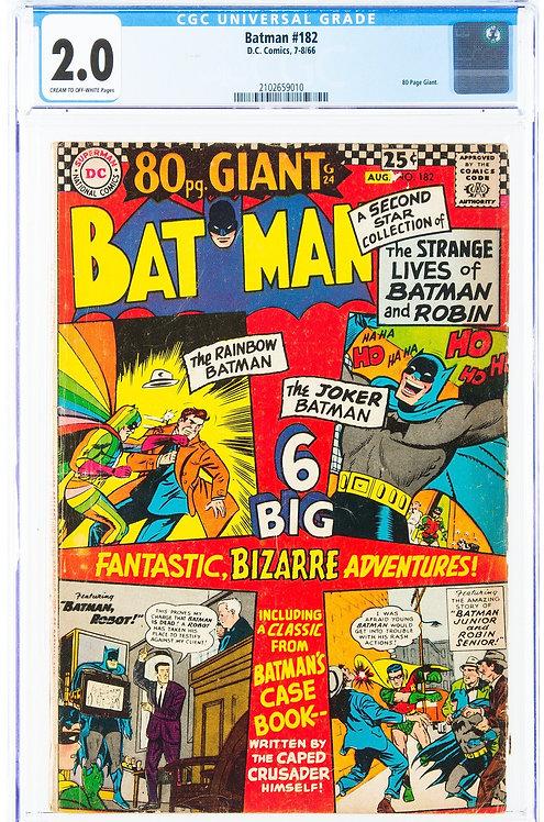 Batman #182 CGC 2.0 (1966) - 80 Page Giant - Amazing Cover!