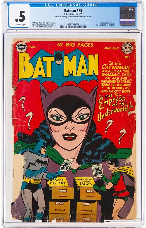 Batman #65 CGC 0.5 (1951) - 1st Appearance of Wingman & Awesome Catwoman Cover!
