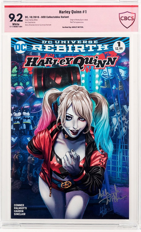 Harley Quinn #1 CBCS 9.2 - AOD Collectibles Variant Verified Signature: Ashley W