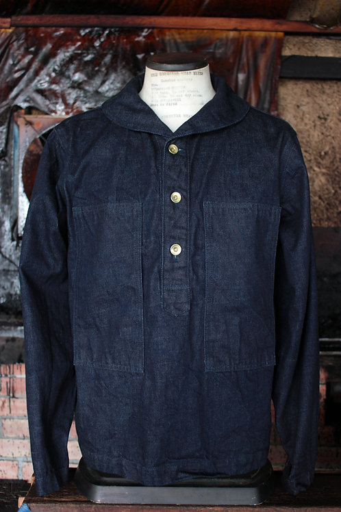 type BPJ  pullover work jacket indigo/white