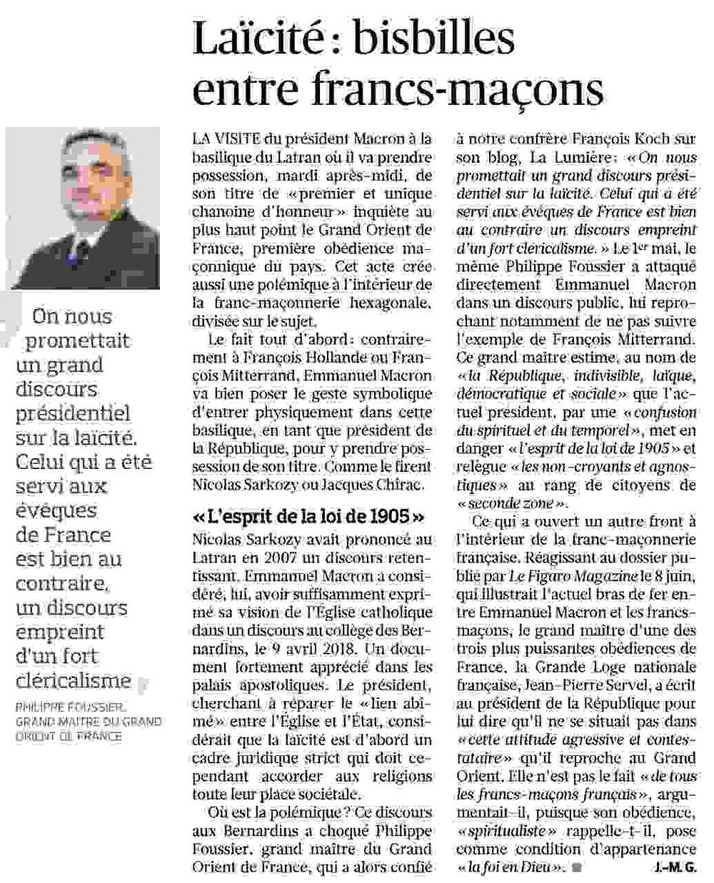 Dans Le Figaro de demain, un article intitulé «  Laïcité : bisbilles entre francs-maçons » qui revient sur les positions exprimées dernièrement par le Grand Maître du GODF