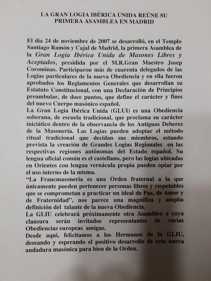 La Gran Logia Ibérica Unida | Spain and Portugal