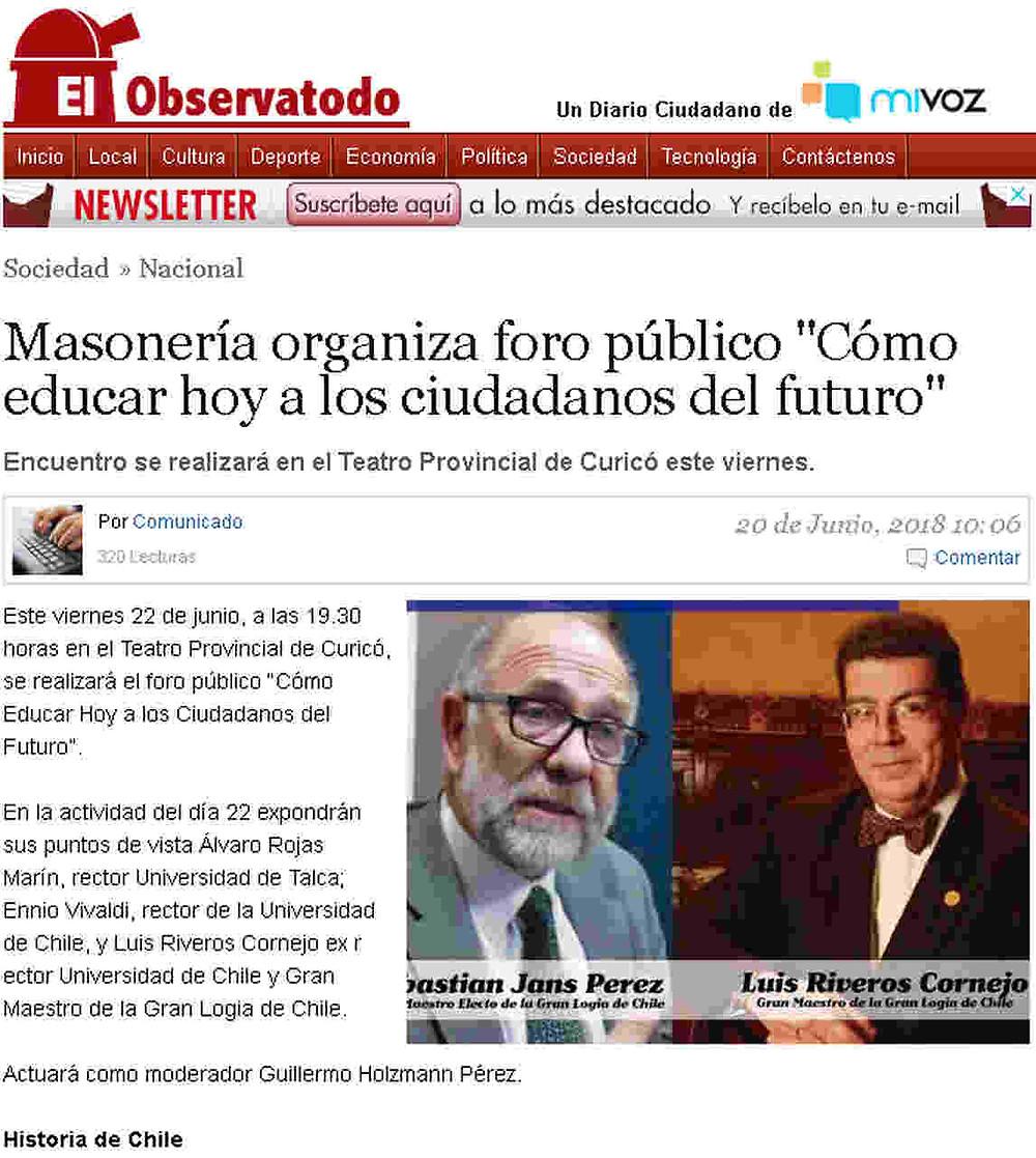 """Masonería organiza foro público """"Cómo educar hoy a los ciudadanos del futuro"""""""