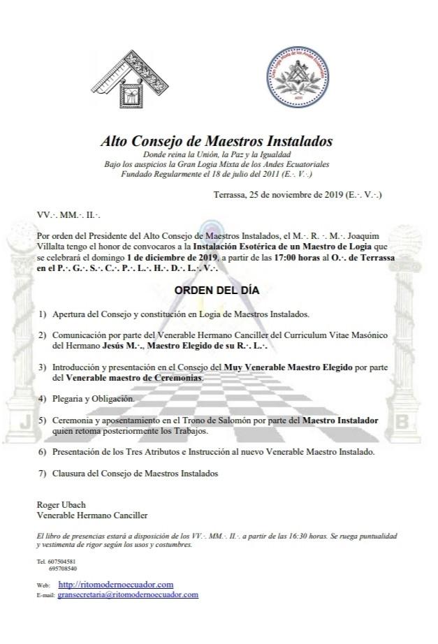 Importante: - Alto Consejo de Maestres Instalados | Roger Ubach |