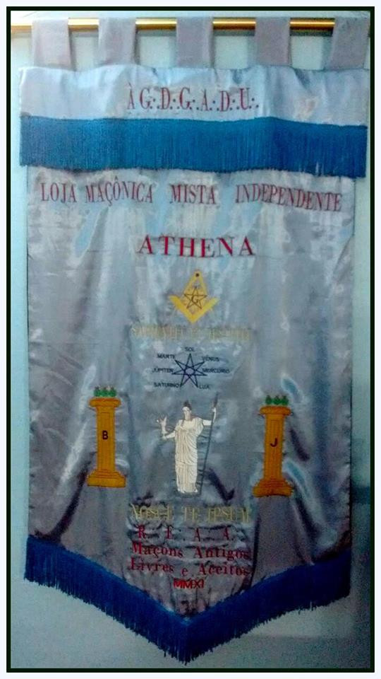 Estandarte da Loja Athena, em Porto Alegre, Rio Grande do Sul, Brasil.