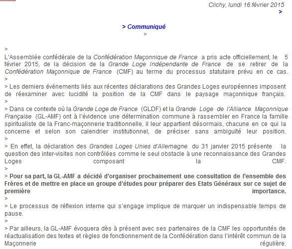 Laços maçónicos em França estão em perda