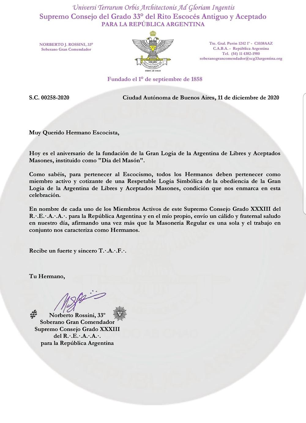 Argentina: - Muy Feliz Dia del Masón!